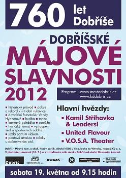 Plakát - Dobříšské májové slavnosti 2012. http://www.kddobris.cz/vismo/dokumenty2.asp?id_org=200094&id=1227